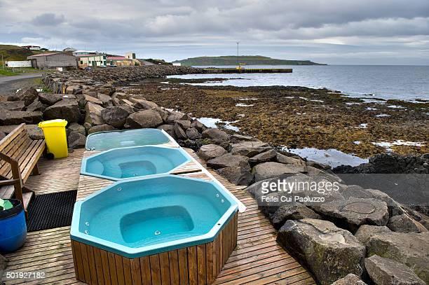 Geothermal Jacuzzi Hot Tubs at seaside of Drangsnes Westfjords Iceland