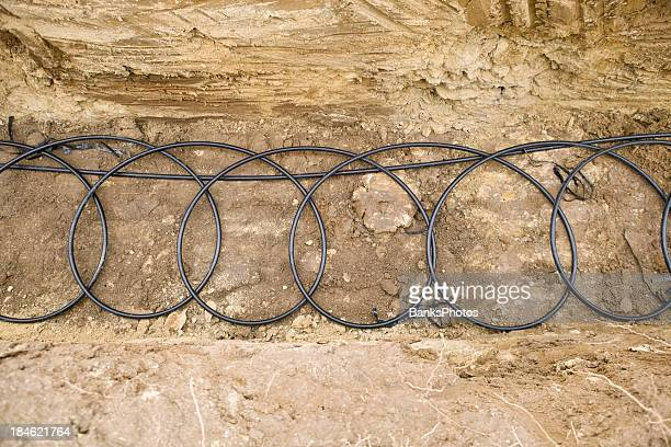 Geothermal Pipe Coils at the bottom of a Trench