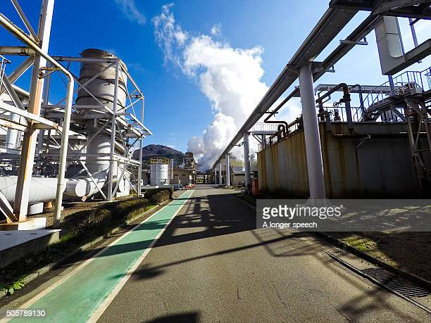 geothermal plant in a blue sky day - 火力発電所 ストックフォトと画像