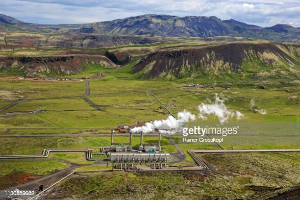 Geothermal power plant in a valley in Iceland