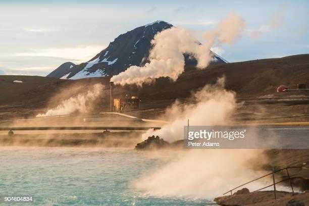geothermal power plant near lake myvatn, iceland - 火力発電所 ストックフォトと画像
