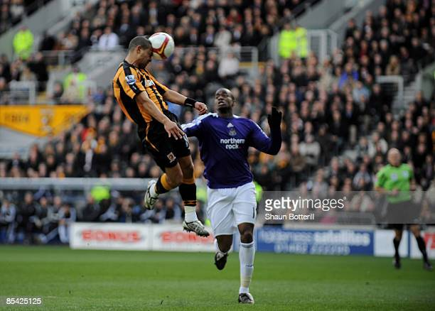 Geovanni of Hull City scores during the Barclays Premier League match between Hull City and Newcastle United at the KC Stadium on March 14, 2009 in...