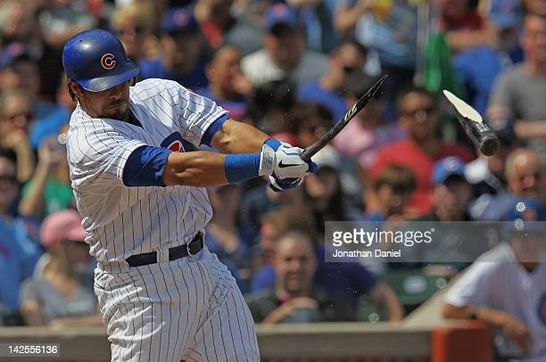 Geovany Soto of the Chicago Cubs breaks his bat hitting a single in the 4th inning against the Washington Nationals at Wrigley Field on April 7 2012...
