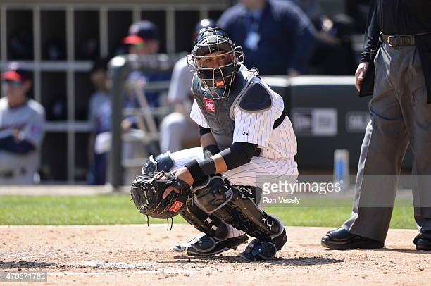 Geovany Soto of the Chicago White Sox catches against the Minnesota Twins on April 11 2015 at US Cellular Field in Chicago Illinois