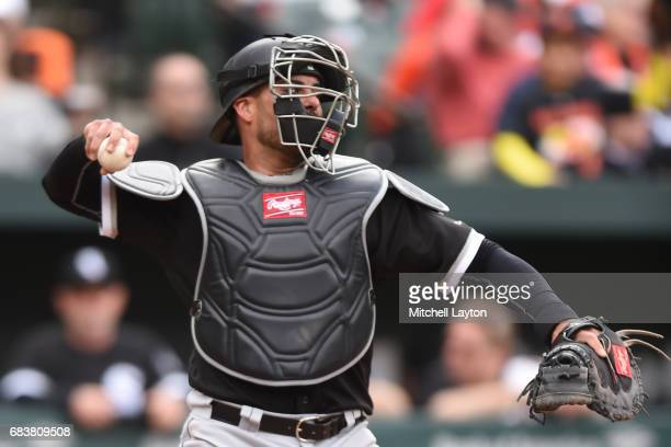 Geovany Soto of the Chicago White Sox throws to second base during a baseball game against the Baltimore Orioles at Oriole Park at Camden Yards on...