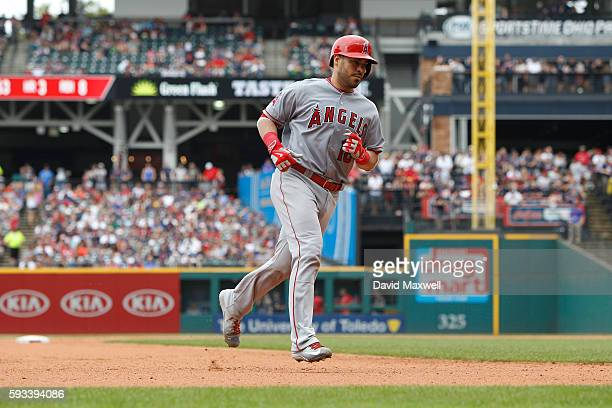 Geovany Soto of the Los Angeles Angels of Anaheim rounds the bases after hitting a home run against the Cleveland Indians during the fourth inning at...