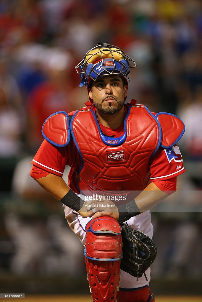 Geovany Soto #8 of the Texas Rangers at Rangers Ballpark in Arlington on September 24, 2013 in Arlington, Texas.
