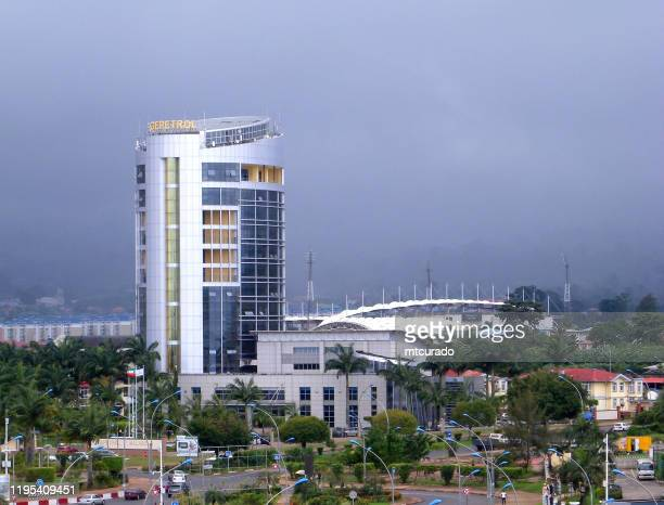 gepetrol - the state oil company, malabo, equatorial guinea - malabo stock pictures, royalty-free photos & images