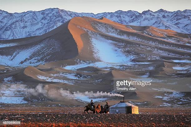 Ger & nomadic herders at sunset, Gobi desert