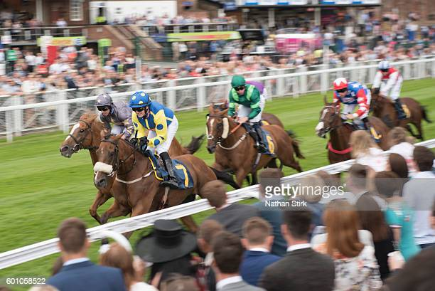 Ger O'Neill riding Mysterial duringThe Happy Retirement Phil Cummins Handicap Stakes race at Chester racecourse on July 31 2016 in Chester England