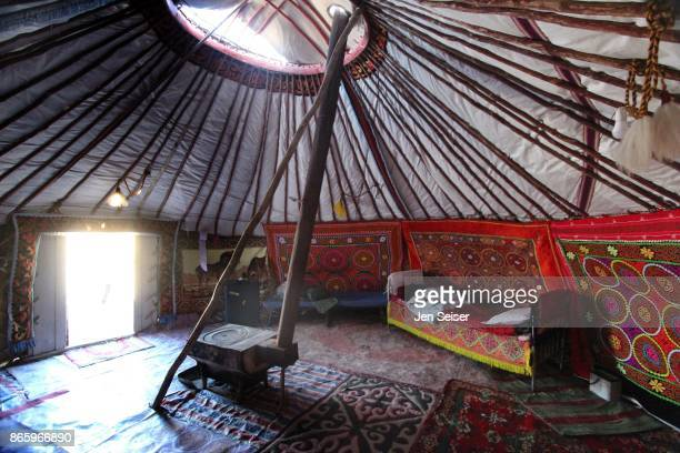 ger yurt living in mongolia - モンゴル ストックフォトと画像