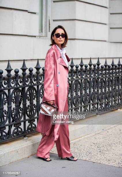 Geradline Boublil is seen wearing silk coat and pants outside Sies Marjan during New York Fashion Week September 2019 on September 08, 2019 in New...