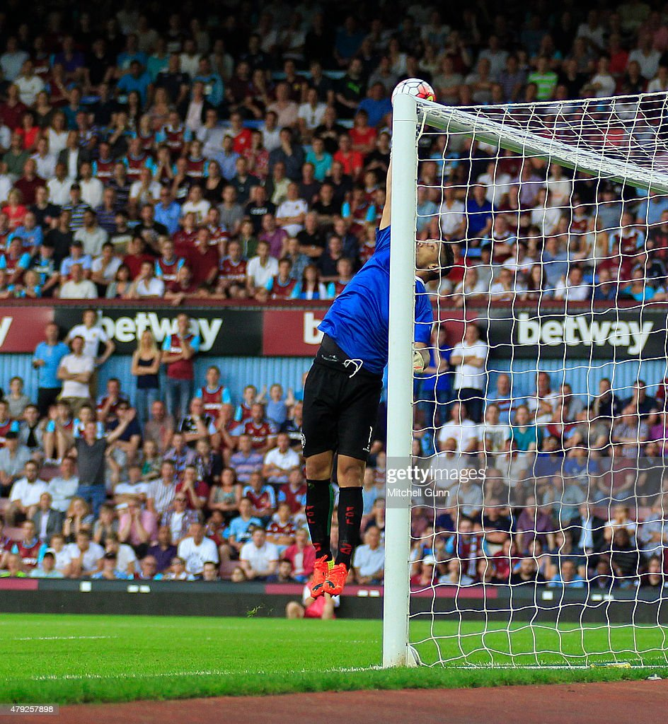 Gerado Rubio of FC Lusitans makes a save during the UEFA Europa League match between West Ham United and FC Lusitans at Boleyn Ground on July 2, 2015 in London, England.