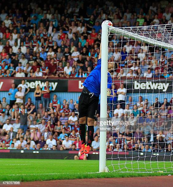 Gerado Rubio of FC Lusitans makes a save during the UEFA Europa League match between West Ham United and FC Lusitans at Boleyn Ground on July 2 2015...