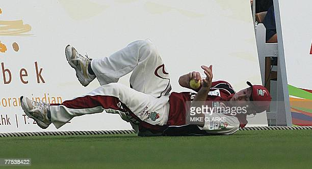 Geraint Jones for All Stars makes a catch against Sri Lanka in the final at the Hong Kong Cricket Sixes 28 October 2007 Sri Lankan went on to win the...