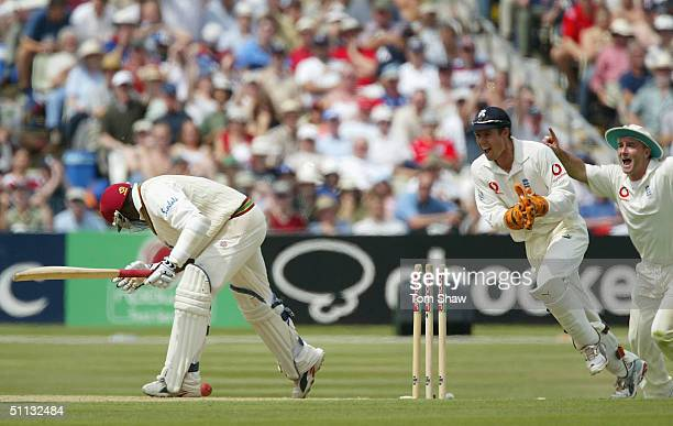 Geraint Jones of England celebrates after Dwayne Bravo of the West Indies is bowled out during day three of the England v West Indies 2nd npower Test...