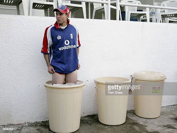 Geraint Jones of England has an ice bath after training during the England nets session at the IPCL ground on February 22 2006 in Baroda India