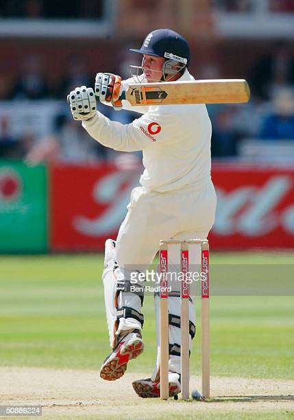 Geraint Jones of England hits out during the third day of the first npower test match between England and New Zealand at Lord's Cricket Ground on May...