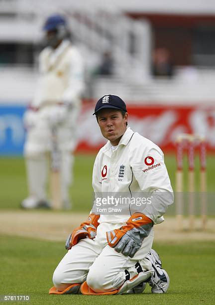 Geraint Jones of England looks on after seeing the ball run to the boundary during day five of the first npower test match between England and Sri...
