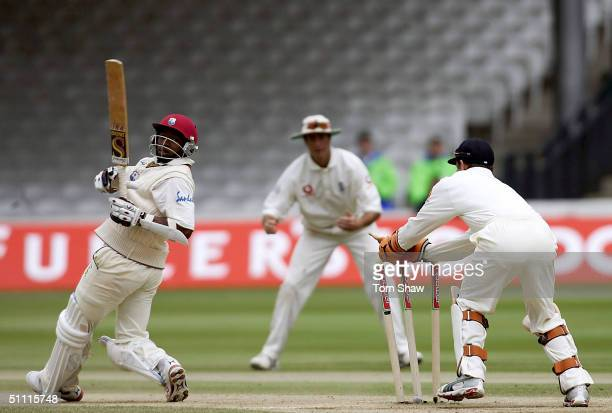 Geraint Jones of England stumps Tino Best of the West Indies during day five of the England v West Indies 1st Npower Test match at Lords Cricket...