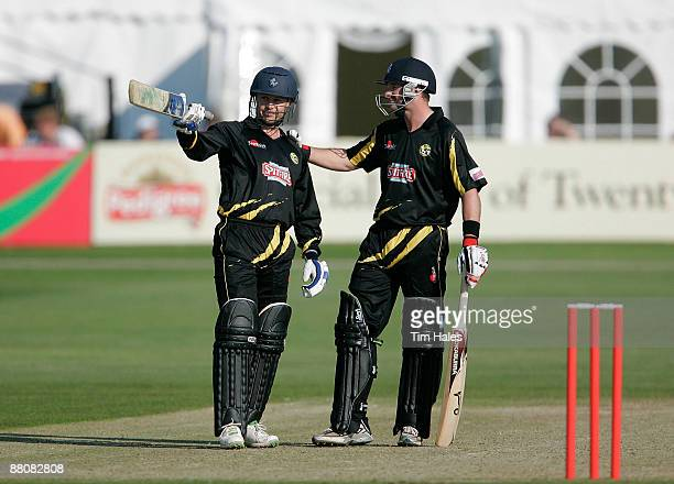 Geraint Jones of Kent is congratulated by team mate Darren Stevens after making fifty runs during the Twenty20 Cup match between Kent and Sussex at...