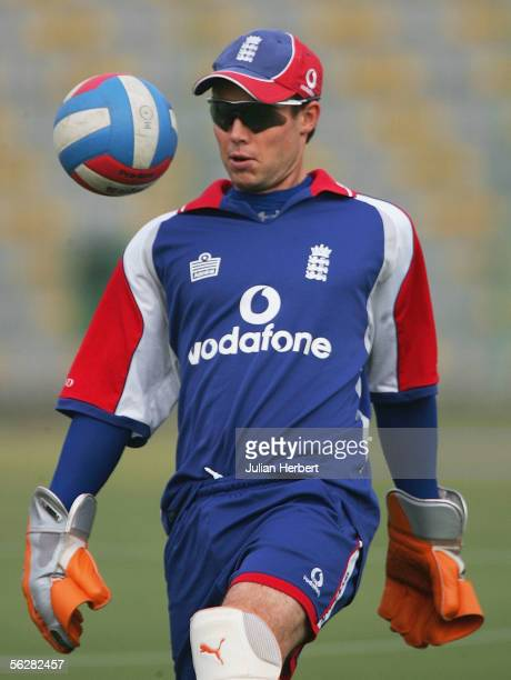 Geraint Jones plays football during a nets session at The Qaddafi Stadium during the winter tour on November 28, 2005 in Lahore, Pakistan.