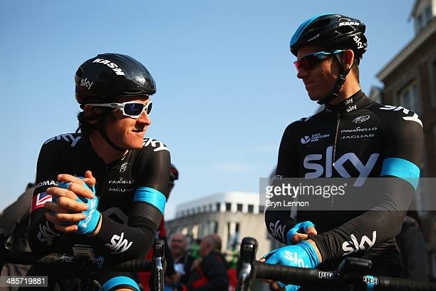 Geraint Thomas and Ben Swift of Great Britain and Team SKY chat at the start line ahead of the 49th edition of the Amstel Gold Race on April 20 2014...