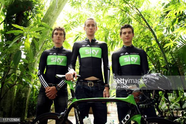 Geraint Thomas Bradley Wiggins and Ben Swift pose during the Team Sky Tour de France 2011 Kit Launch at Kew Gardens on June 23 2011 in London England