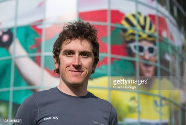 Geraint Thomas MBE of Team Sky attends the unveiling of the renamed National Velodrome of Wales to the Geraint Thomas National Velodrome on September...