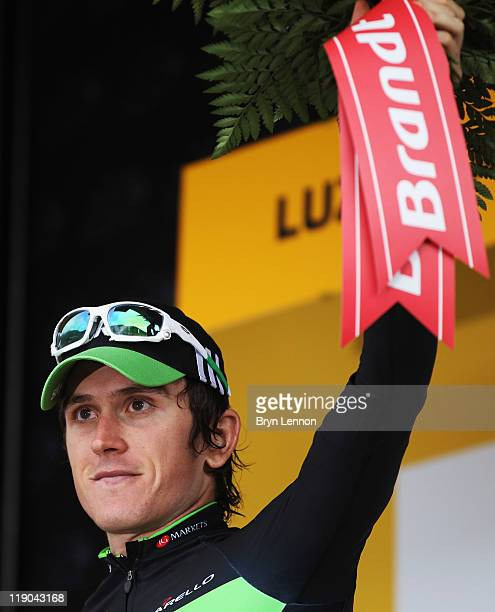 Geraint Thomas of Great Britain and SKY Procycling won the Prix Brandt de la Combativitie award after stage twelve of the 2011 Tour de France from...