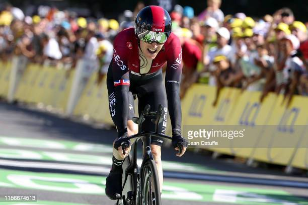 Geraint Thomas of Great Britain and Team Ineos crosses the finish line during stage 13 of the 106th Tour de France 2019, an individual time trial...