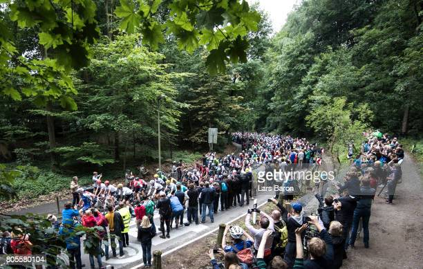 Geraint Thomas of Great Britain and Team Sky and the peloton ride at Grefanberg during stage two of the 2017 Tour de France a 2035km road stage from...