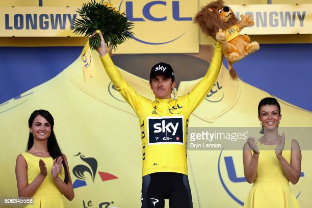 Geraint Thomas of Great Britain and Team Sky celebrates retaining the yellow jersey following stage 3 of the 2017 Tour de France a 2125km road stage...