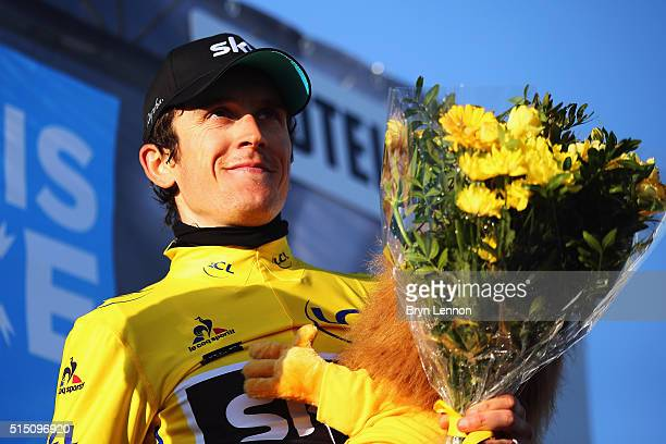 Geraint Thomas of Great Britain and Team SKY celebrates taking the race lead after stage 6 of the 2016 ParisNice a 177km stage from Nice to La Madone...