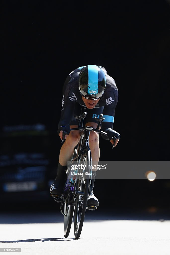 Geraint Thomas of Great Britain and Team Sky during the 37km Individual Time Trial stage thirteen of Le Tour de France from Bourg-Saint-Andeol to La Caverne du Pont D'Arcl Saint-Andeo on July 15, 2016 in Bourg-Saint-Andeol, France.