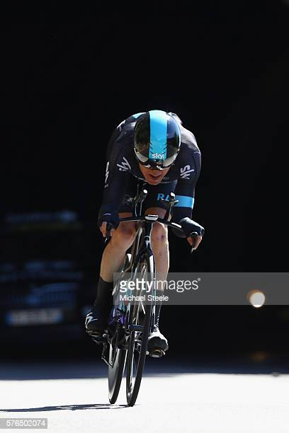 Geraint Thomas of Great Britain and Team Sky during the 37km Individual Time Trial stage thirteen of Le Tour de France from BourgSaintAndeol to La...