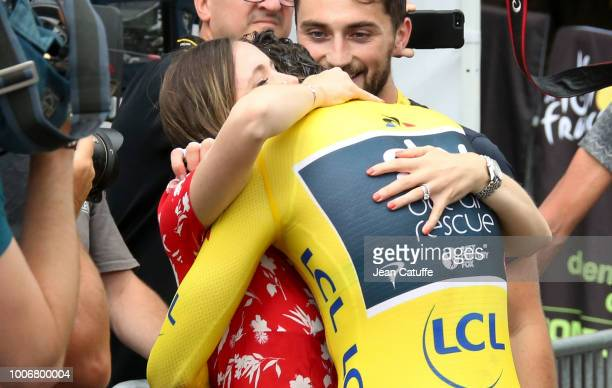 Geraint Thomas of Great Britain and Team Sky hugs his wife Sara Elen Thomas following stage 20 of Le Tour de France 2018 an individual time trial of...