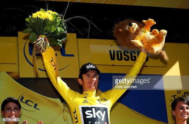 Geraint Thomas of Great Britain and Team Sky in the Yellow Jersey following stage four of Le Tour de France 2017 on July 4 2017 in Vittel France