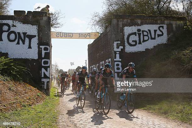 Geraint Thomas of Great Britain and Team SKY leads a group of riders during the 2015 Paris Roubaix cycle race from Compiegne to Roubaix on April 12...
