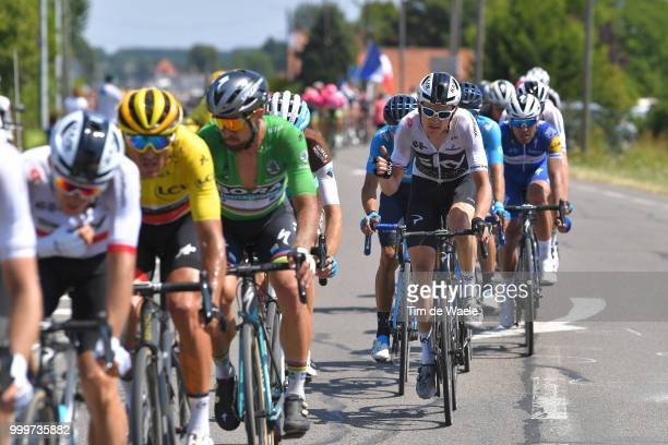 Geraint Thomas of Great Britain and Team Sky / Peter Sagan of Slovakia and Team Bora Hansgrohe Green Sprint Jersey / Greg Van Avermaet of Belgium and...