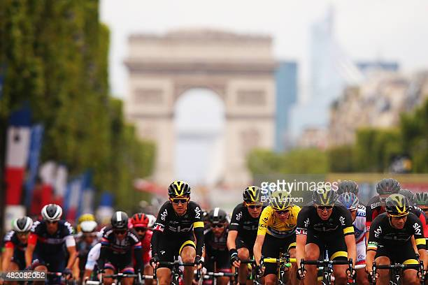 Geraint Thomas of Great Britain and Team Sky rides during the twenty first stage of the 2015 Tour de France a 1095 km stage between Sevres and Paris...