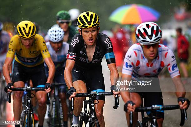 Geraint Thomas of Great Britain and Team Sky rides in between Richie Porte of Australia and Team Sky and Chris Froome of Great Britain and Team Sky...