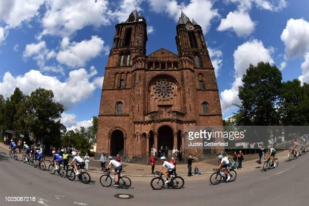 Geraint Thomas of Great Britain and Team Sky / Vasil Kiryienka of Belarus and Team Sky / Dillingen City / Saar Cathedral / Peloton / Landscape /...