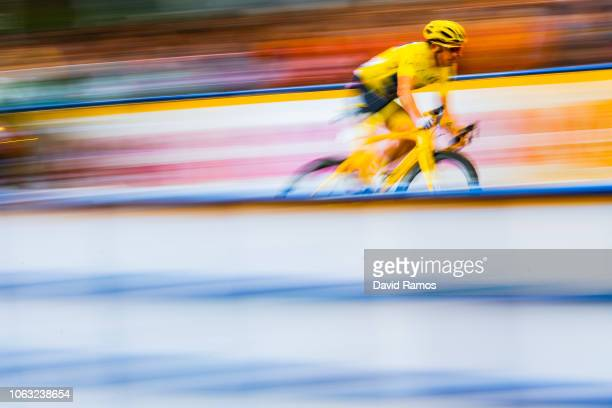 Geraint Thomas of Great Britain and Team Sky wearing the yellow jersey in action on the Team Trial Round during the 6th Tour de France Saitama...
