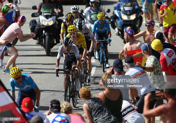 Geraint Thomas of Great Britain and Team Sky wearing the yellow jersey climbs up Alpe d'Huez on his way to victory during Stage 12 a 1755km stage...