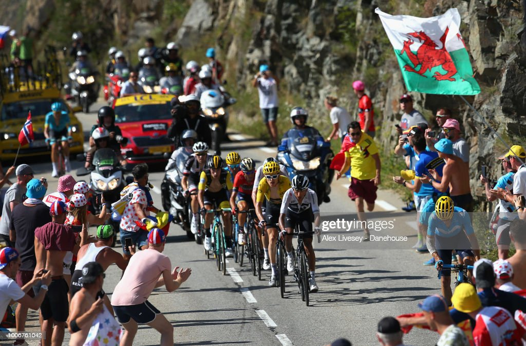 Geraint Thomas of Great Britain and Team Sky wearing the yellow jersey climbs up Alpe d'Huez on his way to victory during Stage 12, a 175.5km stage from Bourg-Saint-Maurice Les Arcs to Alpe d'Huez, of the 105th Tour de France 2018, on July 19, 2018 in Alpe d'Huez, France.