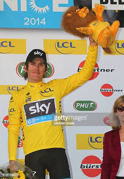 Geraint Thomas of Great Britain and Team Sky who finished second during stage 4 of the ParisNice race from Nevers to Belleville to claim the leaders...