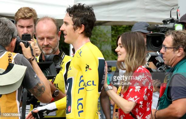 Geraint Thomas of Great Britain and Team Sky with his wife Sara Elen Thomas following stage 20 of Le Tour de France 2018 an individual time trial of...