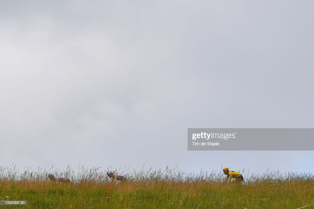 Geraint Thomas of Great Britain and Team Sky with yellow leader Jersey / during the 105th Tour de France 2018, Stage 17, a 67km stage from Bagneres-de-Luchon to Saint-Lary-Soulan - Col du Portet 2215m / TDF / on July 25, 2018 in Saint-Lary-Soulan - Col du Portet, France.