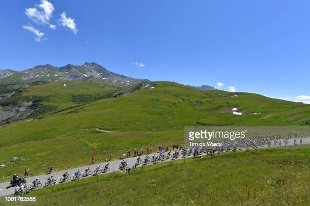 Geraint Thomas of Great Britain and Team Sky Yellow Leader Jersey / Col De La Madeleine / Landscape / Peloton / Mountains / Snow / Fans / Public /...